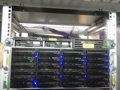Photo of the servers Ramoth and Bowser in a rack at Imperial College London