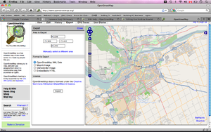 Screenshot exporting OSM data