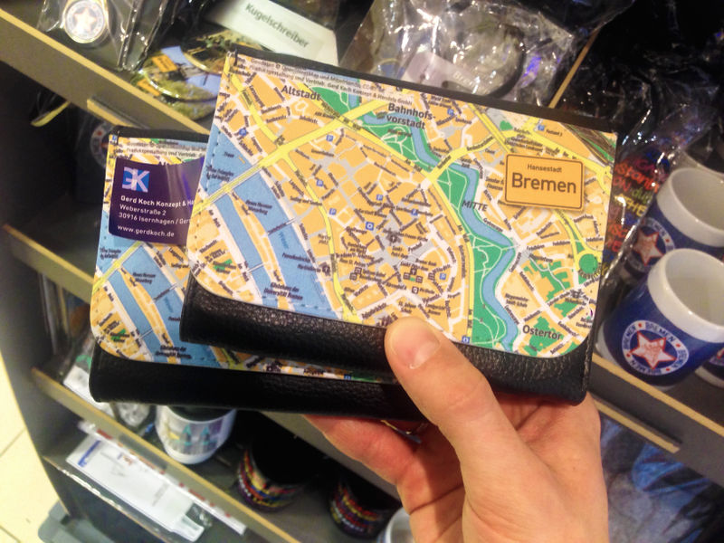 File:A wallet with the map of Bremen by OSM.jpg