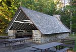Mill Bluff State Park picnic shelter.JPG