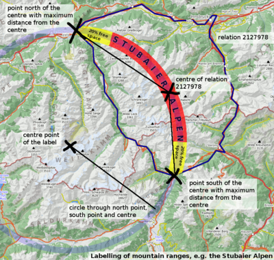 Map with an illustration of mountain range labelling
