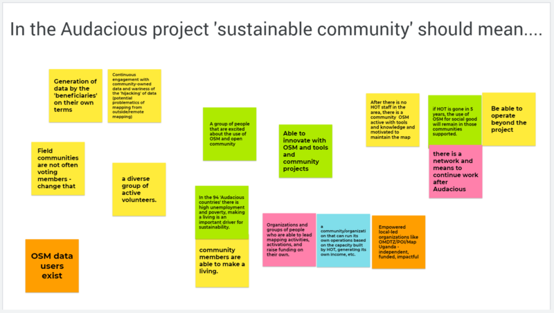 Outputs from the discussion of the question, what does 'sustainability' mean in the Audacious project support?