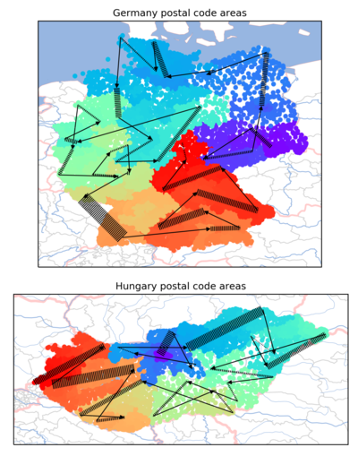 Germany and Hungary postcode delivery route.png