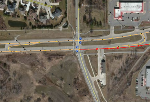 MichiganLeft Intersection dualandSingleCarriageway.PNG