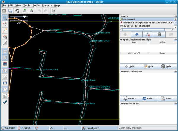 JOSM Screenshot, showing a track and marks surveyed using Maemo-mapper