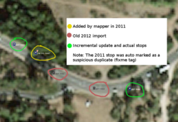 Annotated Aerial view of bus stops