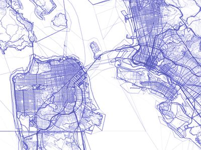screenshot of an artistic map of San Francisco showing all lines (in lilac colour) which ever existed in our OSM data