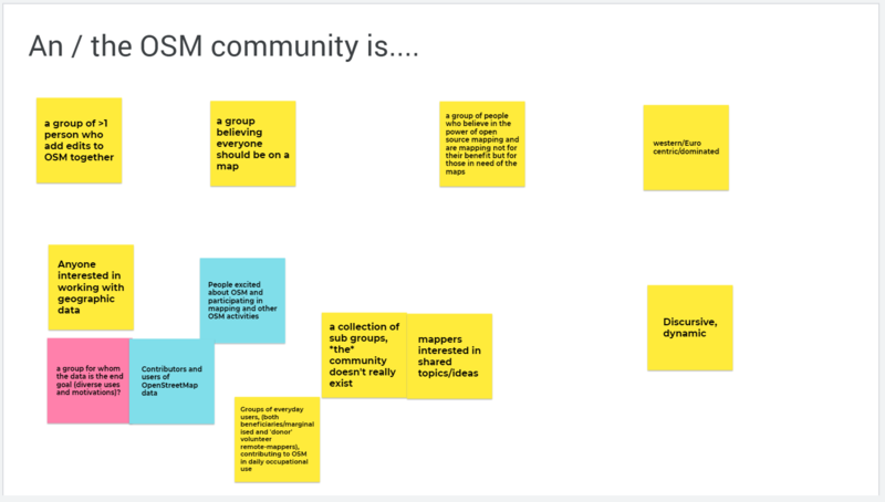 Outputs from the discussion of the question, what is an / the OSM community
