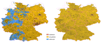 comparison of two before and after postcode data consolidation maps of Germany