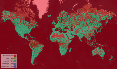 bing coverage analyser showing the whole globe