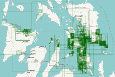 screenshot of a map of a part of the Philippines overlaid with green rectangles representing OSM changesets after Typhoon Haiyan