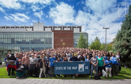 State of the Map US 2016 Group Photo, taken 7/23/2016 at Seattle University.